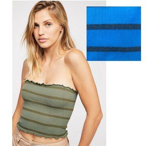 Free People Blue + Gray Seamless Striped Tube Top